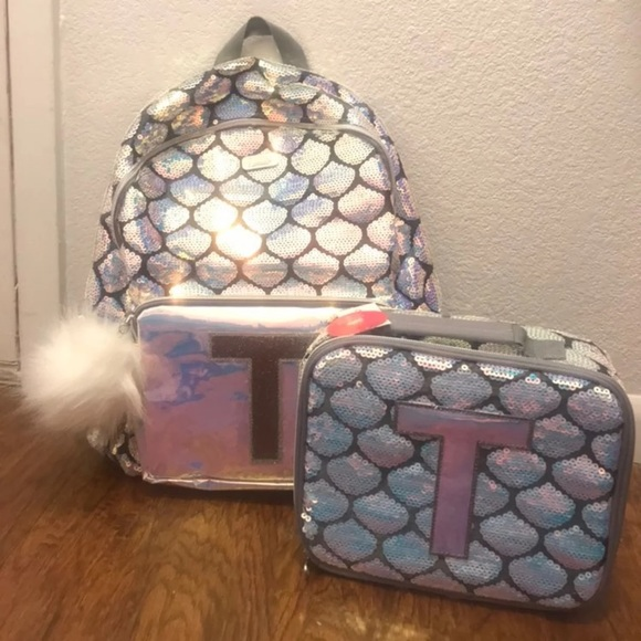4be4f7d94588 Justice Letter T Sequin backpack and lunch box NWT